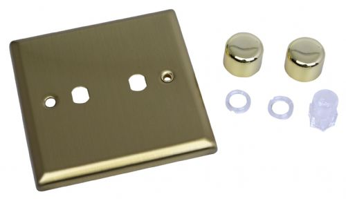 Varilight WY2.BB Urban Brushed Brass 2 Gang Dimmer Plate Only + Dimmer Knobs